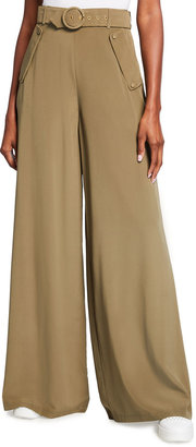 Zimmermann Wide-Leg Belted Silk Pants