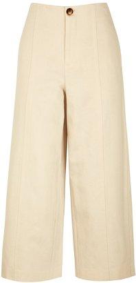 Vince Ecru Wide-leg Cotton-blend Trousers