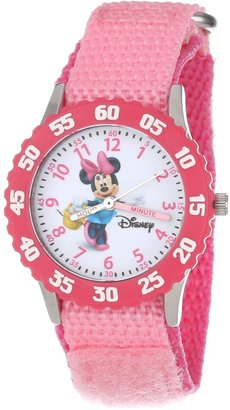 Disney Kids' W000024 Minnie Mouse Time Teacher Stainless Steel Watch with Pink Nylon Band