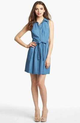 Kensie Dot Chambray Shirtdress