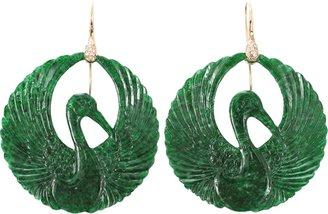 Lucifer Vir Honestus Carved Jade Bird Earrings
