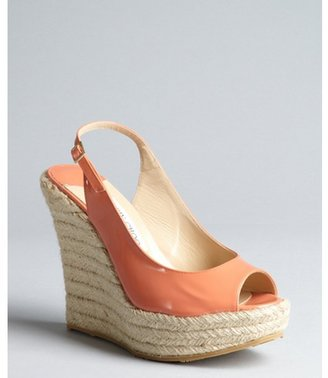 Jimmy Choo coral patent leather 'Polar' espadrille slingback wedges