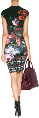 Roberto Cavalli Printed Dress in Black/Rose