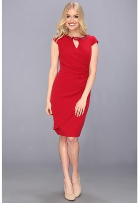 Adrianna Papell Release Pleat Draped Dress (Rouge) - Apparel
