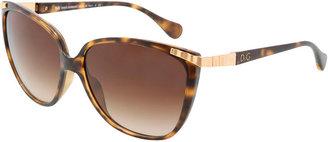 "Dolce & Gabbana Butterfly"" Large Cat-Eye Tortoise Sunglasses"