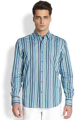 Saks Fifth Avenue BLACK LABEL Black Label Multistriped Cotton Sportshirt