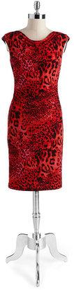 dav DAVID MEISTER Animal Print Cowlneck Stretch Dress