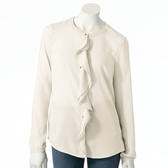 Lauren Conrad solid ruffle blouse - women's