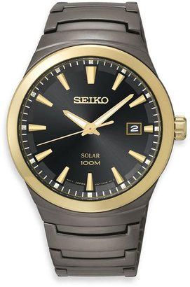 Seiko Men's Solar Black Ion-Finished/Black Dial Watch