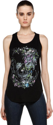 Alexander McQueen Flower Skull Tee in Black