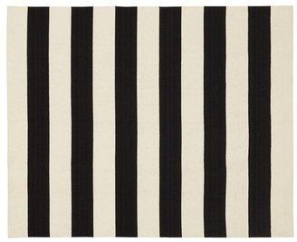 Pottery Barn Awning Stripe Dhurrie Rug - Black