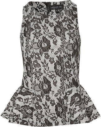 Topshop Tall Bonded Lace Peplum Top