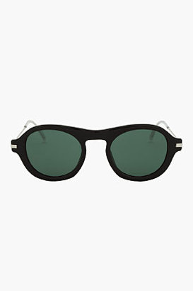 Dries Van Noten Black Round Plastic & Metal Sunglasses