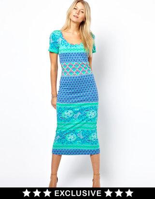 Vila Midi Body Con Dress With Cap Sleeve