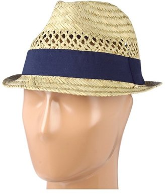 Hat Attack Seagrass Open Weave Fedora W/Navy Ribbon Trim (Seagrass/Navy) - Hats