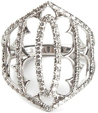 Loree Rodkin White Gold And Grey Diamond Pave Shield Ring
