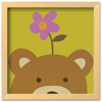 "Art.com Peek-a-Boo VI, Bear"" Brown Framed Art Print by Yuko Lau"