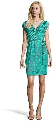 Yoana Baraschi jade and grey stretch silk blend pattern printed sleeveless draped dress