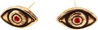 Pamela Love Gold and Ruby Occulus Stud Earrings