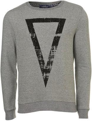 Topman Grey Salt and Pepper Printed Sweatshirt