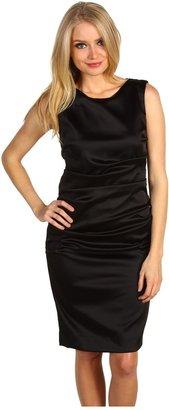 Nicole Miller Sleeveless Tucked Stretch Satin Dress (Black) - Apparel