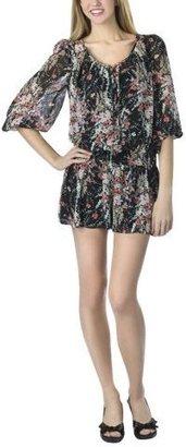 Xhilaration Juniors Short-Sleeve Top - Black Floral