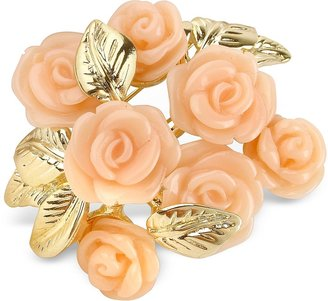 A-Z Collection Pink Roses Gold Plated Brooch