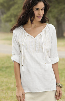 J. Jill Embroidered cotton peasant blouse