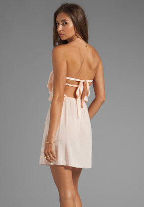 Indah Poloma Rayon Crepe Tie Back Mini Dress With Front Ruffle