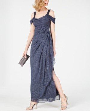 Alex Evenings Cold-Shoulder Draped Metallic Gown