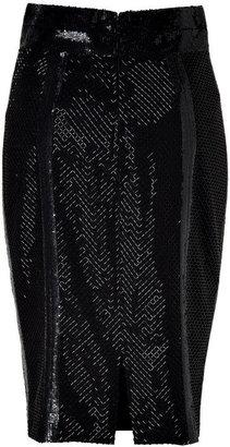 L'Wren Scott L\'Wren Scott Black Silk Mesh Embroidered Pencil Skirt
