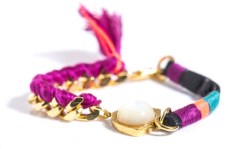 Lizzie Fortunato Mother of pearl leather and chain bracelet