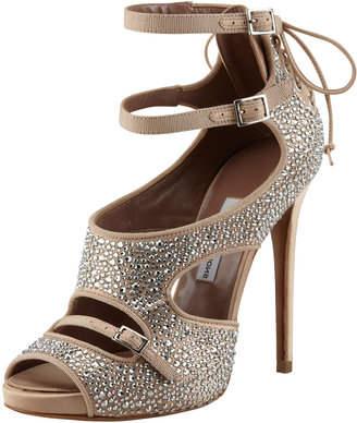 Tabitha Simmons Bailey Crystal-Covered Lace-Up Sandal