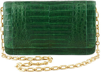 Nancy Gonzalez Crocodile Medium Chain-Strap Flap Clutch Bag, Green