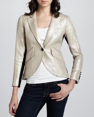 Smythe Metallic Tuxedo-Stripe Blazer