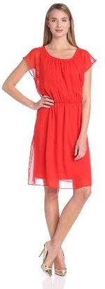 Amy Byer Women's Flowy Fluid Chiffon Dress