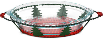 """Pyrex Holiday 9"""" Pie Dish with Basket"""