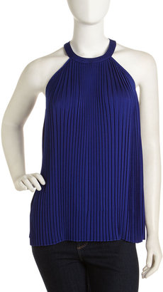 Laundry by Shelli Segal Pleated Halter Top, Sapphire