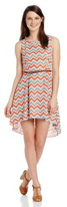 My Michelle Juniors High-Low Chevron Dress with Belt