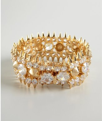 Noir Gold And Crystal Spike Studded Bracelet