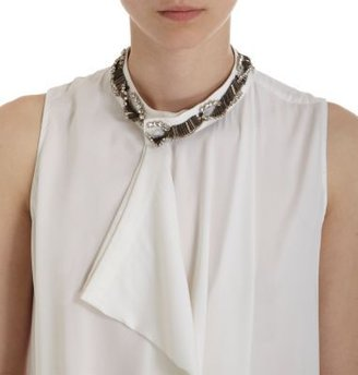 3.1 Phillip Lim Asymmetric Front Jeweled Neck Top