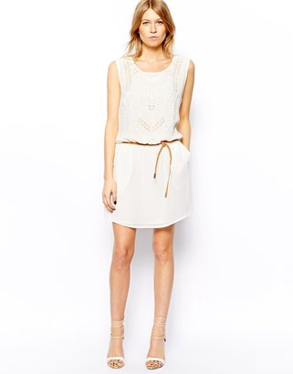 MANGO Embroidered Front Belted Dress