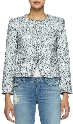Alice + Olivia Kidman Fringe-Trim Tweed Jacket
