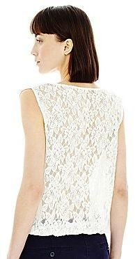 Joe Fresh Cowlneck Lace-Back Tank Top