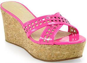 Kate Spade Tawny - Cork Wedge Slide in Lipstick Pink Patent