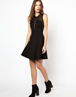 French Connection Dolly Mesh Jersey with Frill