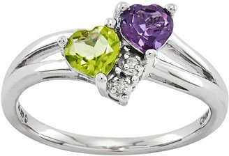 Sterling Choice of Double Heart Shaped GemstoneRing