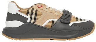 Burberry Vintage Check Suede And Leather Sneakers