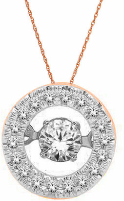 FINE JEWELRY Love in Motion 1/4 CT. T.W. Diamond 10K Rose Gold Round Pendant Necklace