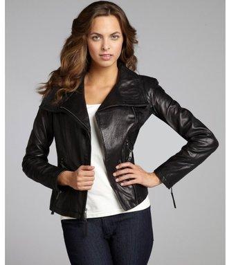 Wyatt black leather asymmetrical zip motorcycle jacket